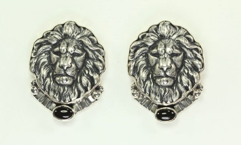 Amy Kahn Russell Lion's Head Post Earrings WITH BLACK ONYX STONES
