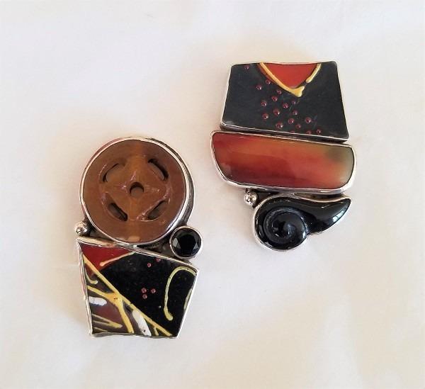 Echo of the Dreamer Asymmetrical Vintage Asian Tile Clip Earrings