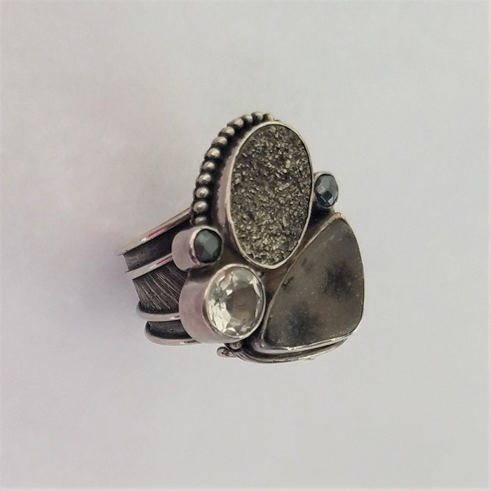 Echo of the Dreamer Black Druzy & Spotted Druzy Statement Ring SIZE 8