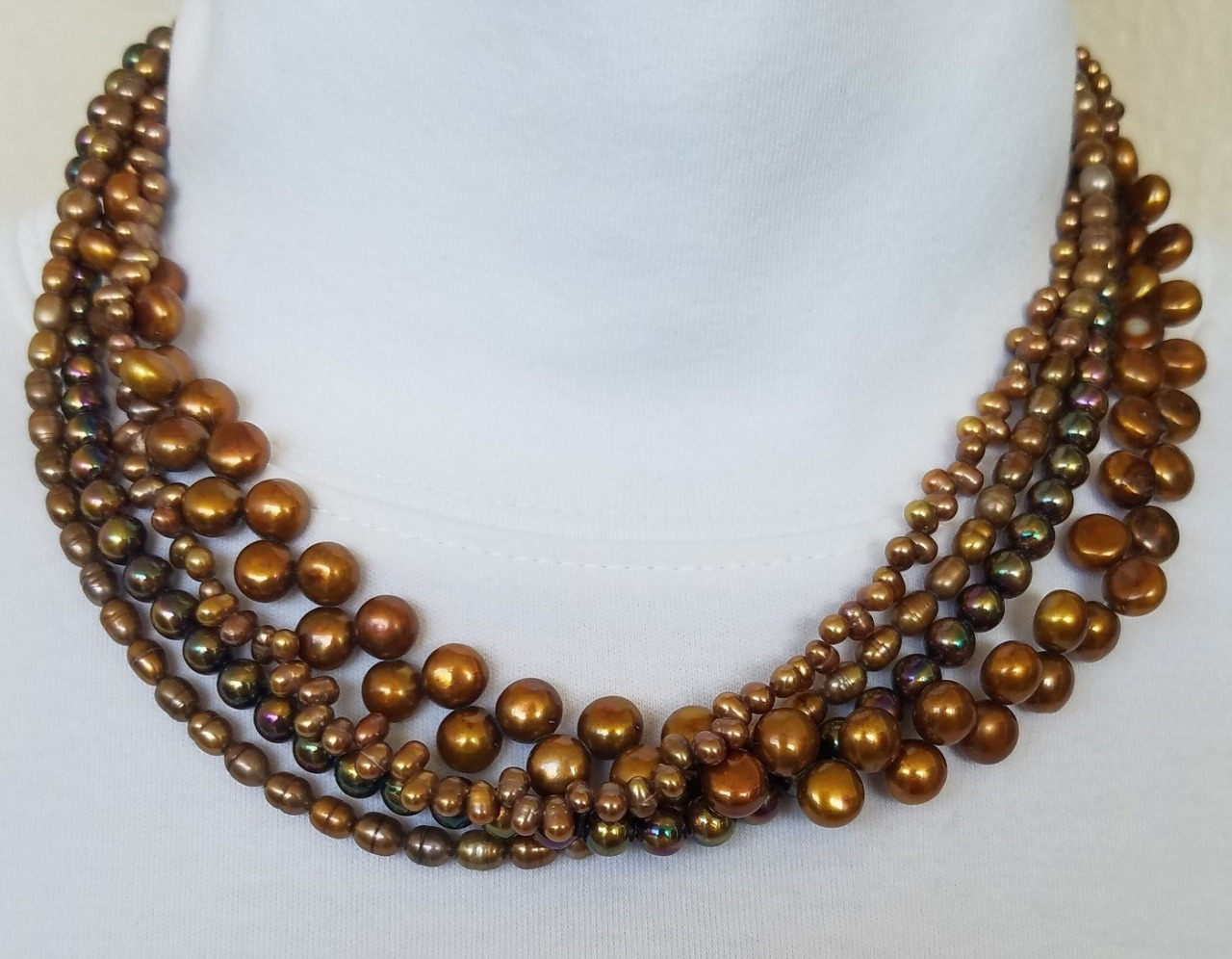 Amy Kahn Russell 4-Strand Copper Fresh Water Pearl Necklace
