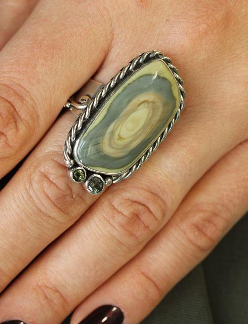 Echo of the Dreamer Jasper with Green Tourmaline Statement Ring