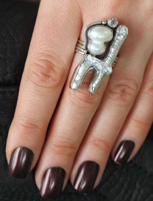 Echo of the Dreamer Free Form Pearl Ring with White Topaz