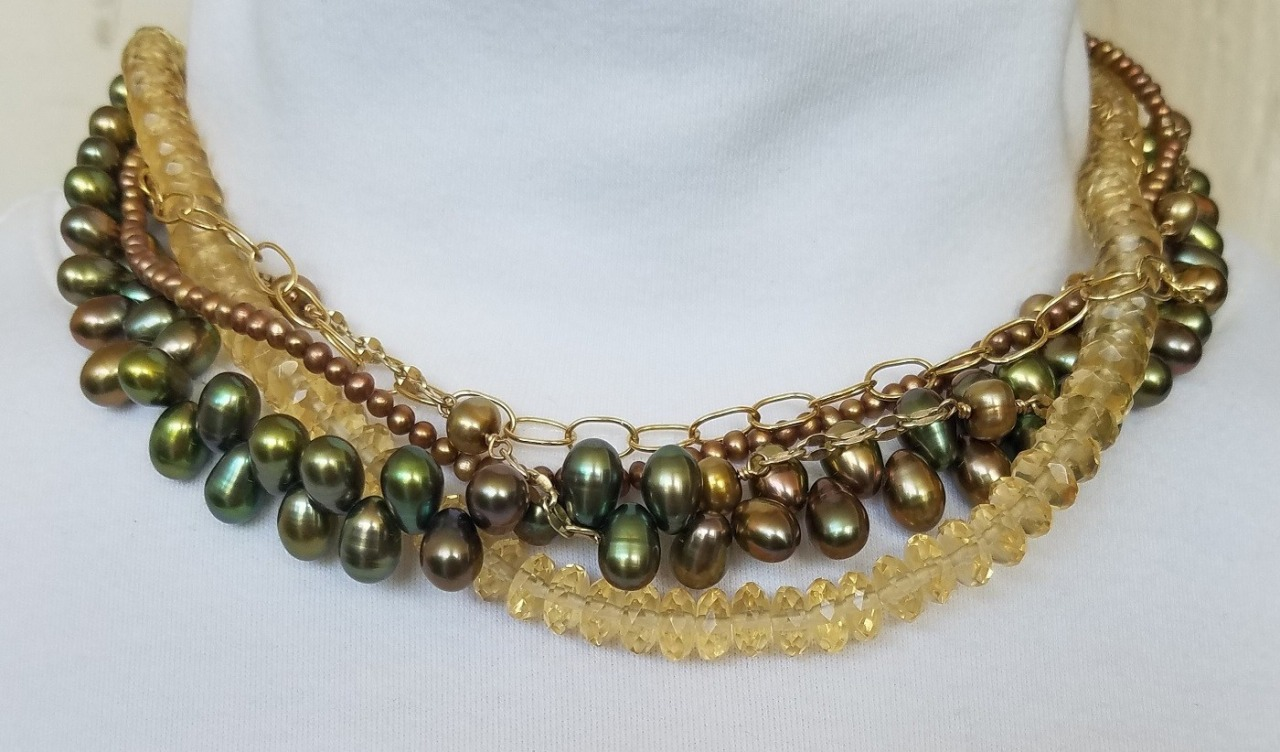 Echo of the Dreamer Green Fresh Water Pearl Necklace with Lemon Citrine