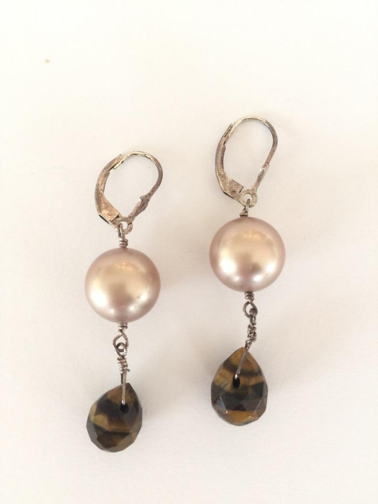 Swarovski Crystal Pearl & Tiger Eye Lever Back Earrings