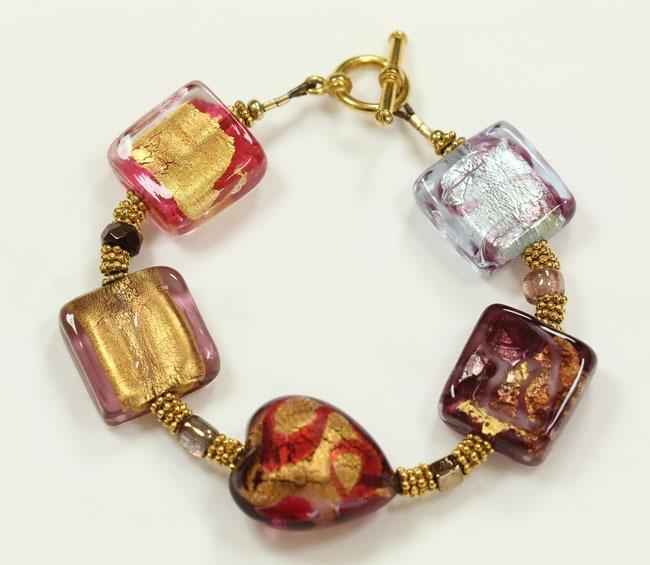 Venetian Glass Treasure Bracelet With Gold Vermeil