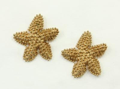 Vintage Gold Vermeil Starfish Post Earrings by American Designer