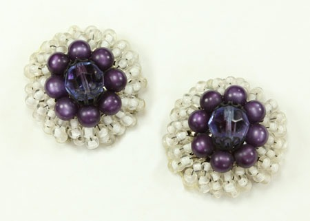 Vintage Purple & White Lucite Clip Earrings From 1940's-1950's