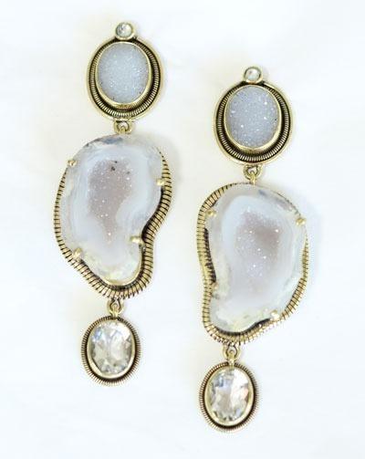 Amy Kahn Russell Light Gray Geode Post Dangle Earrings