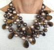 Powder Almond Tiger Eye & Swarovski Pearl Statement Necklace