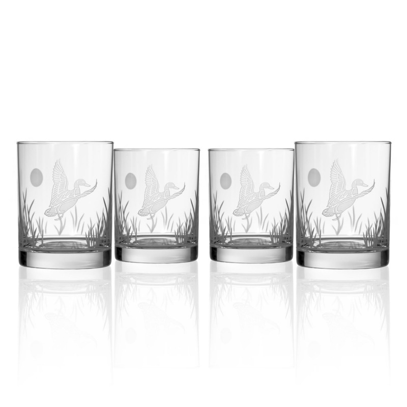 Rolf Etched Duck Double Old Fashioned Glass 14 oz