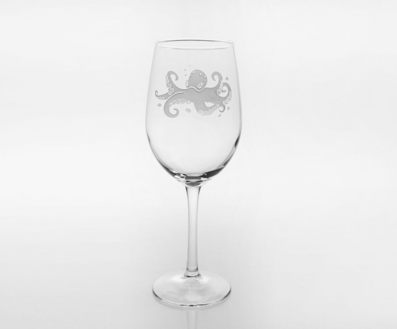 Etched Octopus 12 oz. White Wine Glass