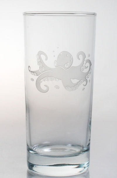 Etched Octopus 15 oz. Highball/Water/Cooler