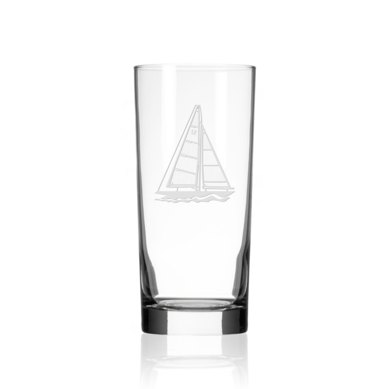 Etched Sailboat 15 oz. Highball/Water/Cooler Glass