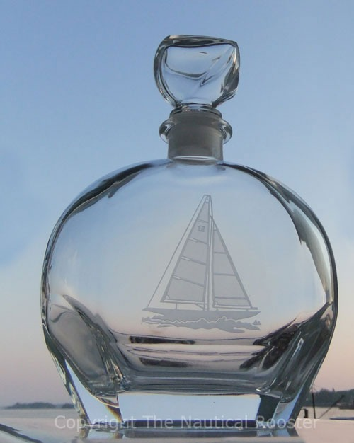 Etched Sailboat Whiskey Decanter