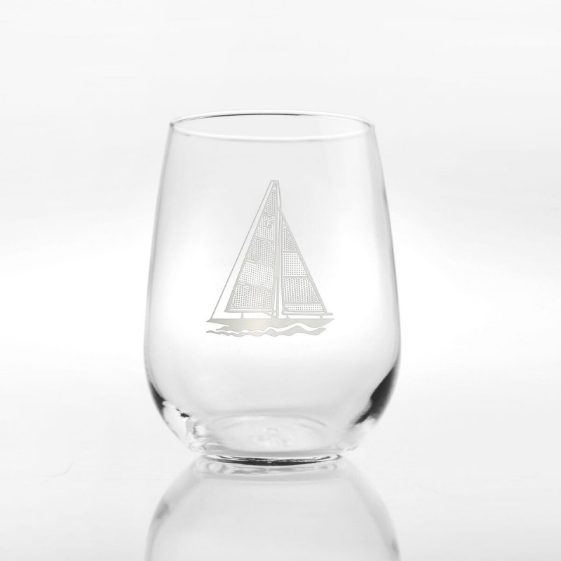 Etched Sailboat 17 oz. Stemless Wine