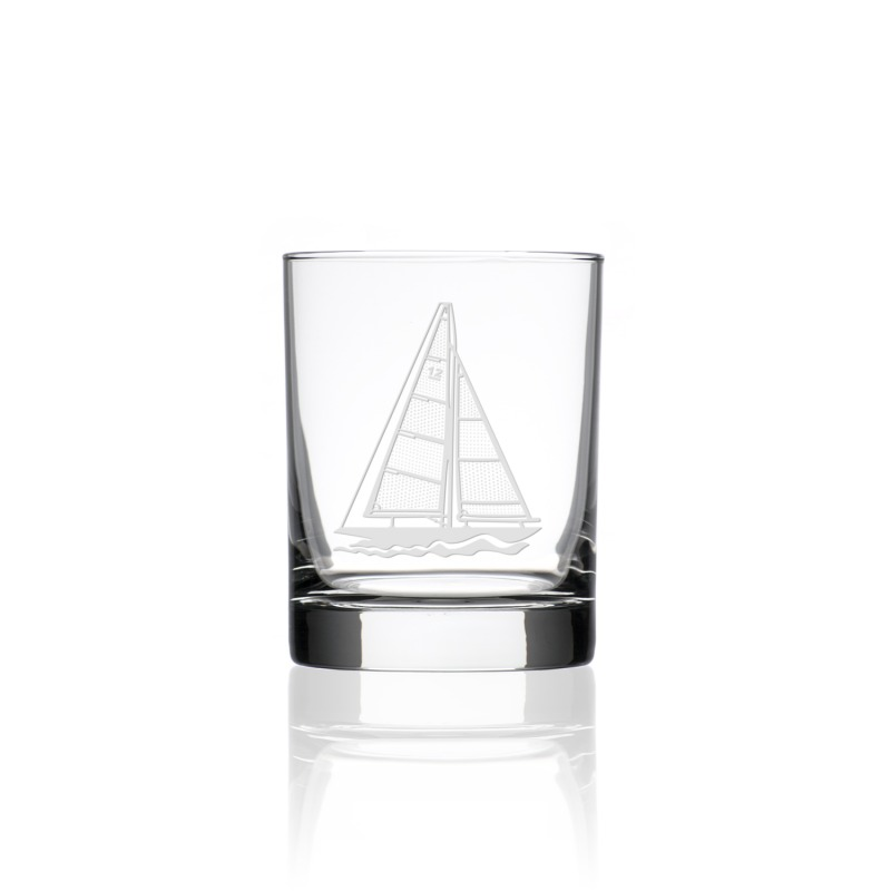 Etched Sailboat Double Old Fashioned