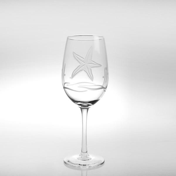 Etched Starfish 12 oz White Wine Glass