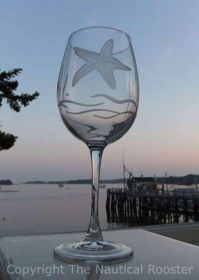 Etched Starfish 18 oz. Clear All Purpose Wine