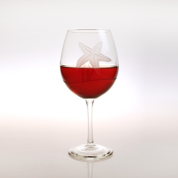 Etched Starfish 18 oz. Balloon Red Wine