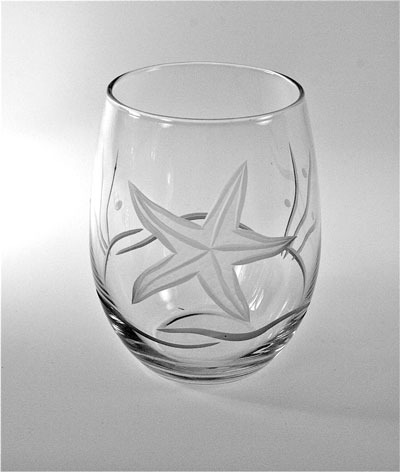 Etched Starfish Stemless 17 oz. Wine
