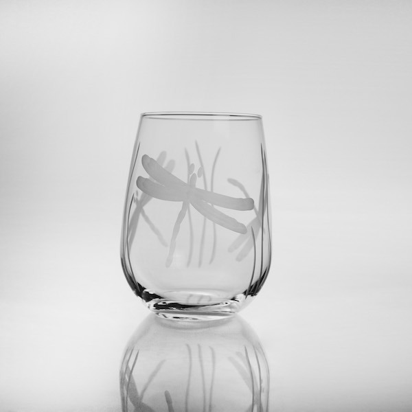 Rolf Etched Dragonfly 17 oz. Stemless Wine Tumbler