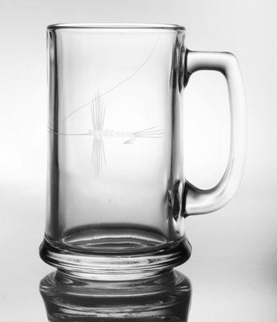 Rolf Etched Fly Fishing 16 oz. Beer Mug