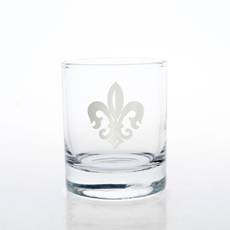 Etched Grand Fleur De Lis 14 oz. Double Old Fashioned