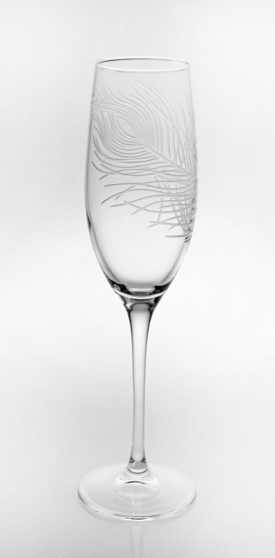 Etched Peacock 8 oz. Champagne Flute