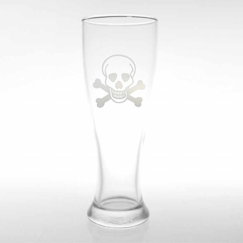 Etched Skull & Cross Bones 16 oz. Footed Pilsner